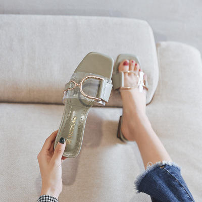 Fashion 2019 new flat bottom goes out with ladies' water drill slippers