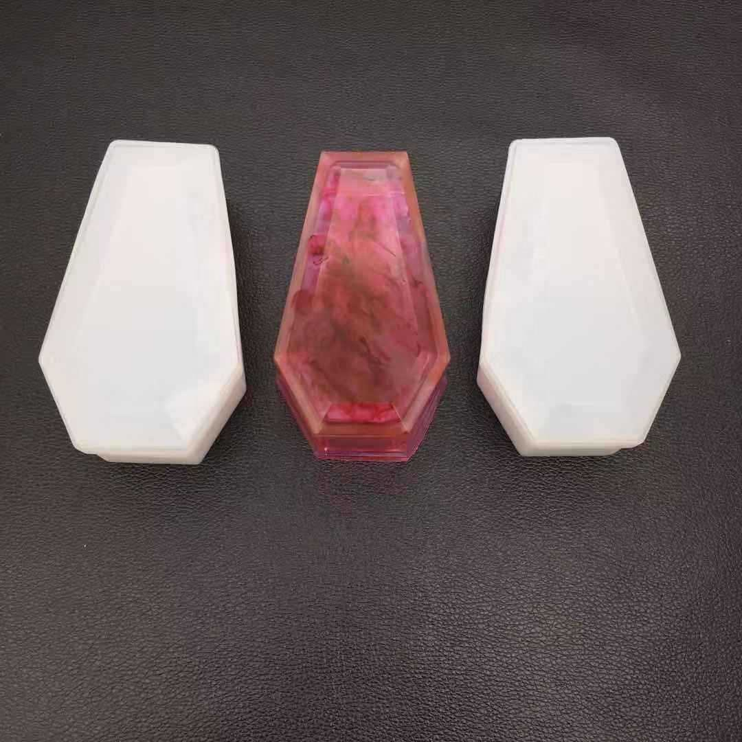 BJ73 Wholesale Coffin Trinket Box Silicone Mold for Resin crafts Making DIY