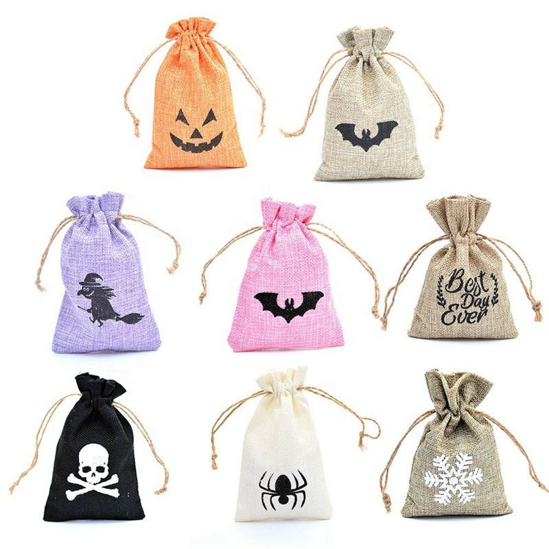 Printed Small Jute Gift Bag Wedding Favors Sack Burlap Drawstring Bag for Candy Jewelry Baby Shower Thank You Bag Xmas Decor