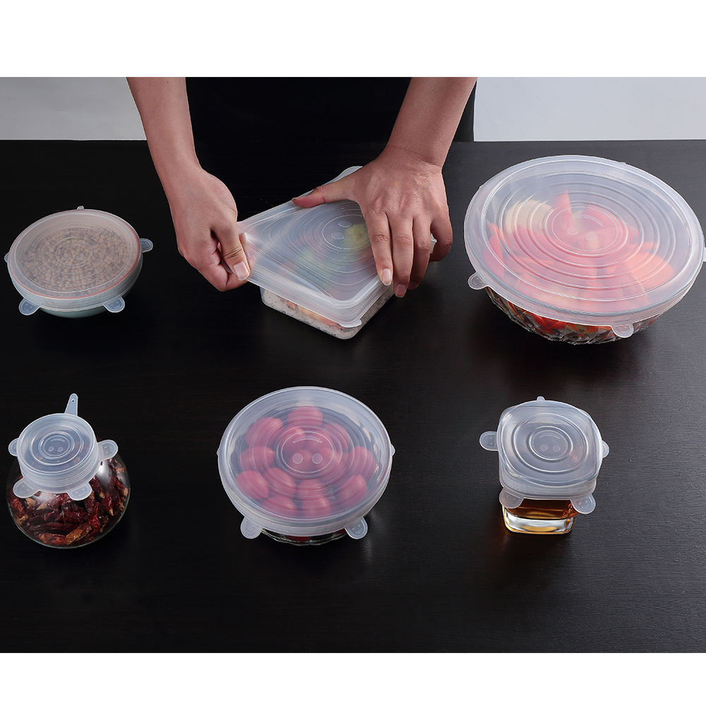 6 Pack Silicone Lids Set, Useful Flexible Stretch Silicone Lid For Keep Food Fresh