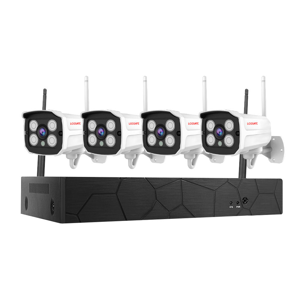 1080P HD 4channel waterproof wifi nvr kit wireless outdoor security cctv camera system