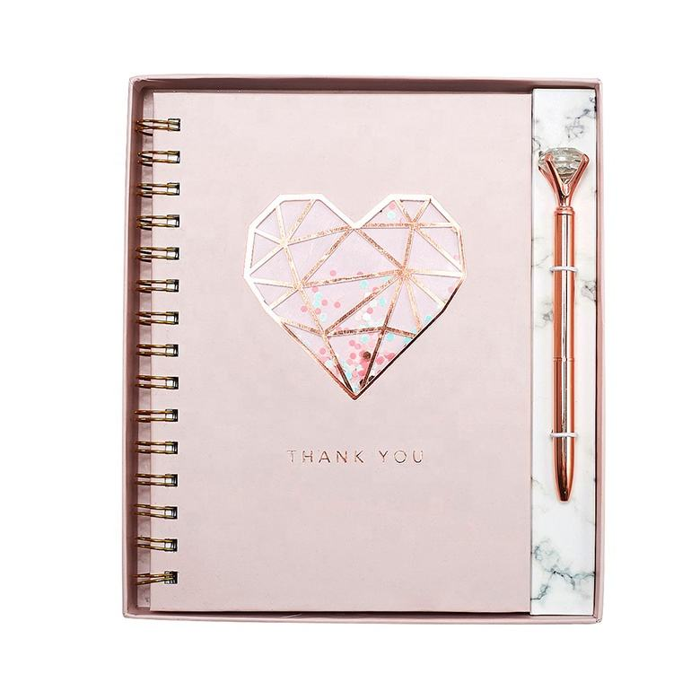 New Design Luxury Rose Gold Foil Notebook And Pen Set, Custom Printing Office Stationery Gift Set For Girl