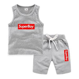 wholesale custom design boys clothes set  high quality knitted summer children clothing sets