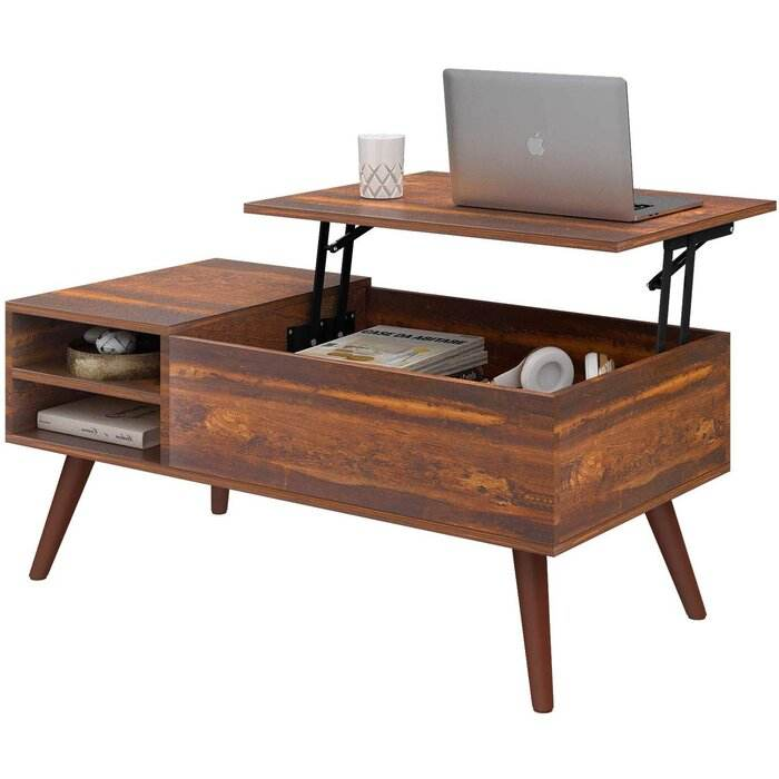 unique modern antique retro rustic industrial vintage solid wooden legs lift top computer coffee table