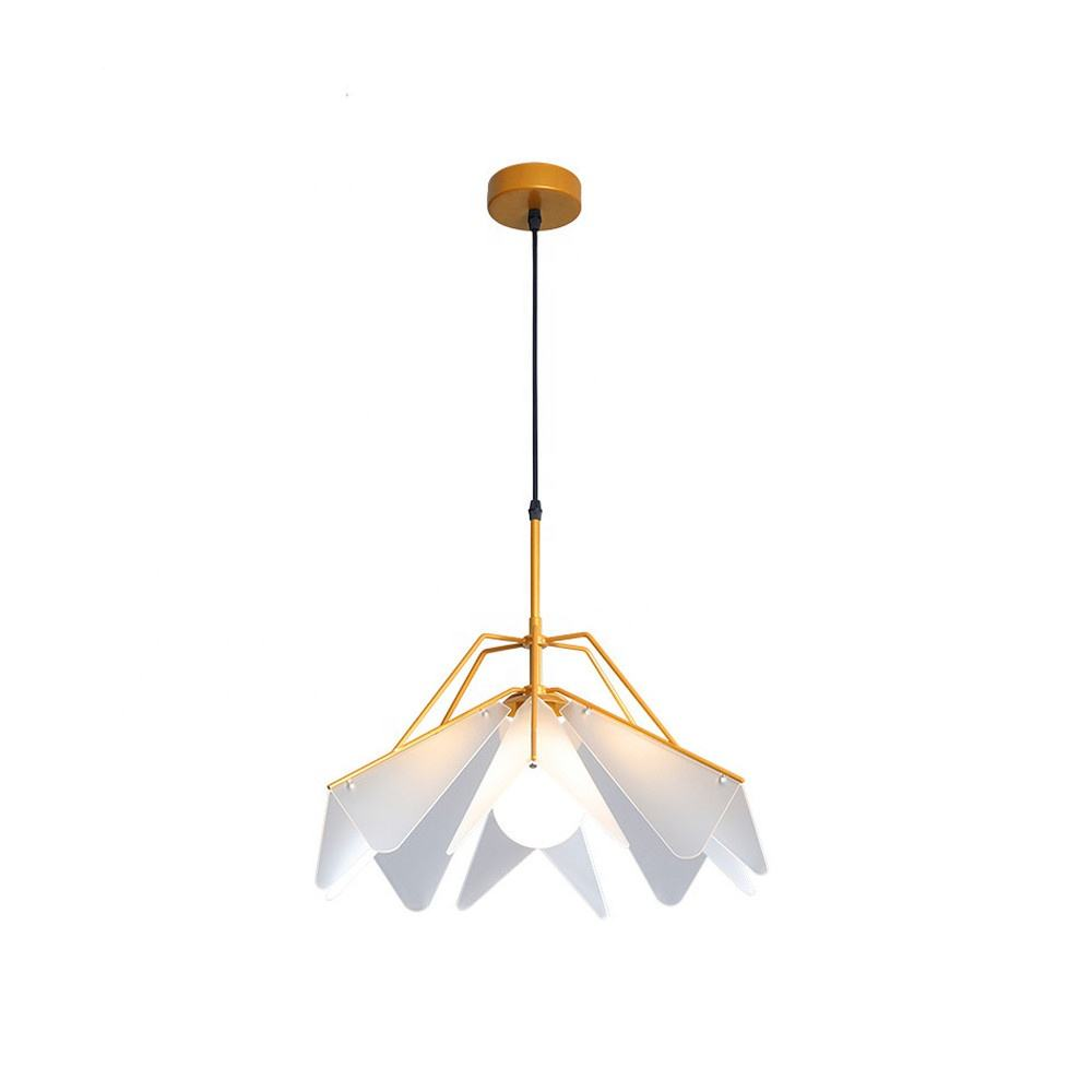 Style Modern Architectural Restaurant Acrylic Gold Leaf Chandelier Pendant Lights