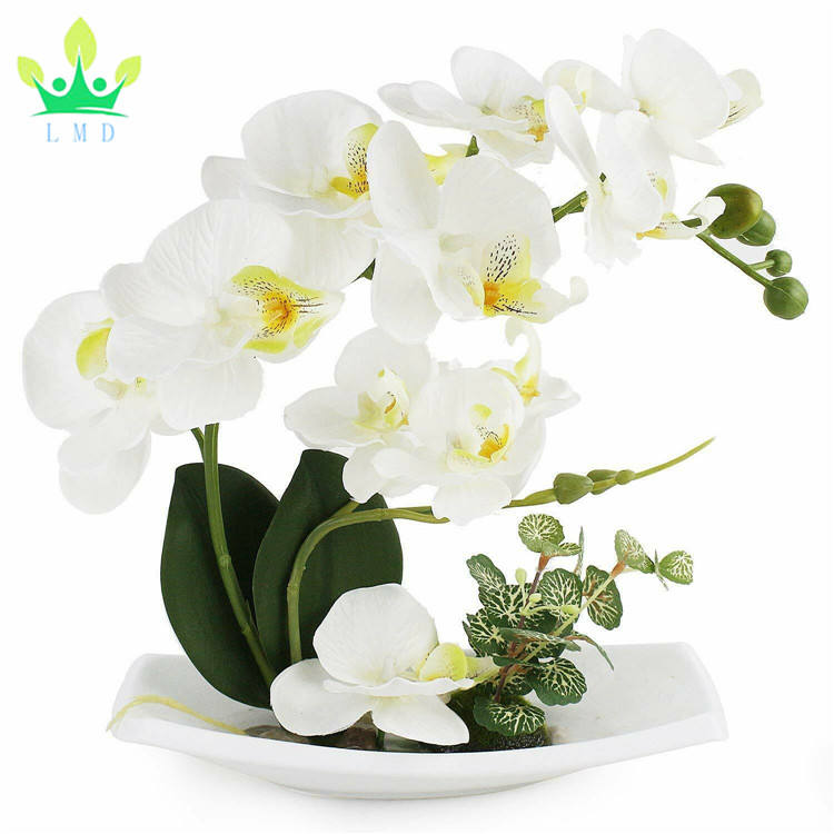Artificial Orchid Flower Arrangements with Porcelain Vase,Bonsai Decoration(White)
