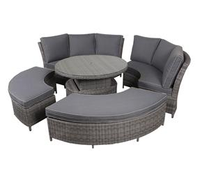 5pcs Alu Rattan Corner Round Sofa Height Adjust Table Outdoor Furniture Sofa Set