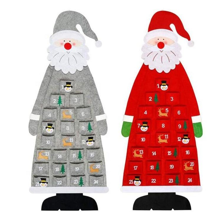 Hot Sales Christmas Gifts 24 Days Felt Christmas Hanging Advent Calendar