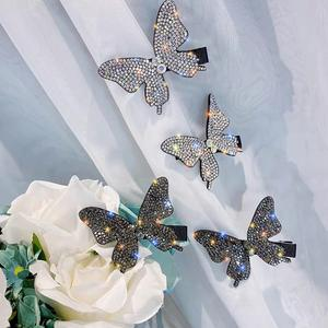 Personalized Hair Accessories Diamond Butterfly Hairpins Women's Rhinestone Crystal Butterfly Clips for Girls