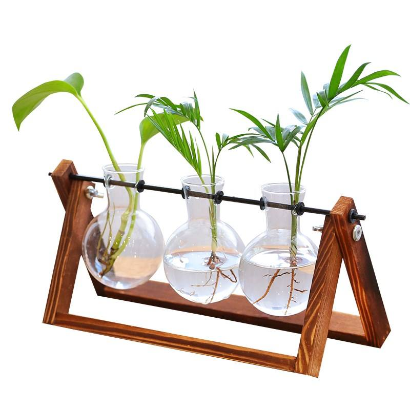 Creative Glass Tabletop flower vase Hydroponic Plant Home Decor Vase with Wooden Frame vase decoration