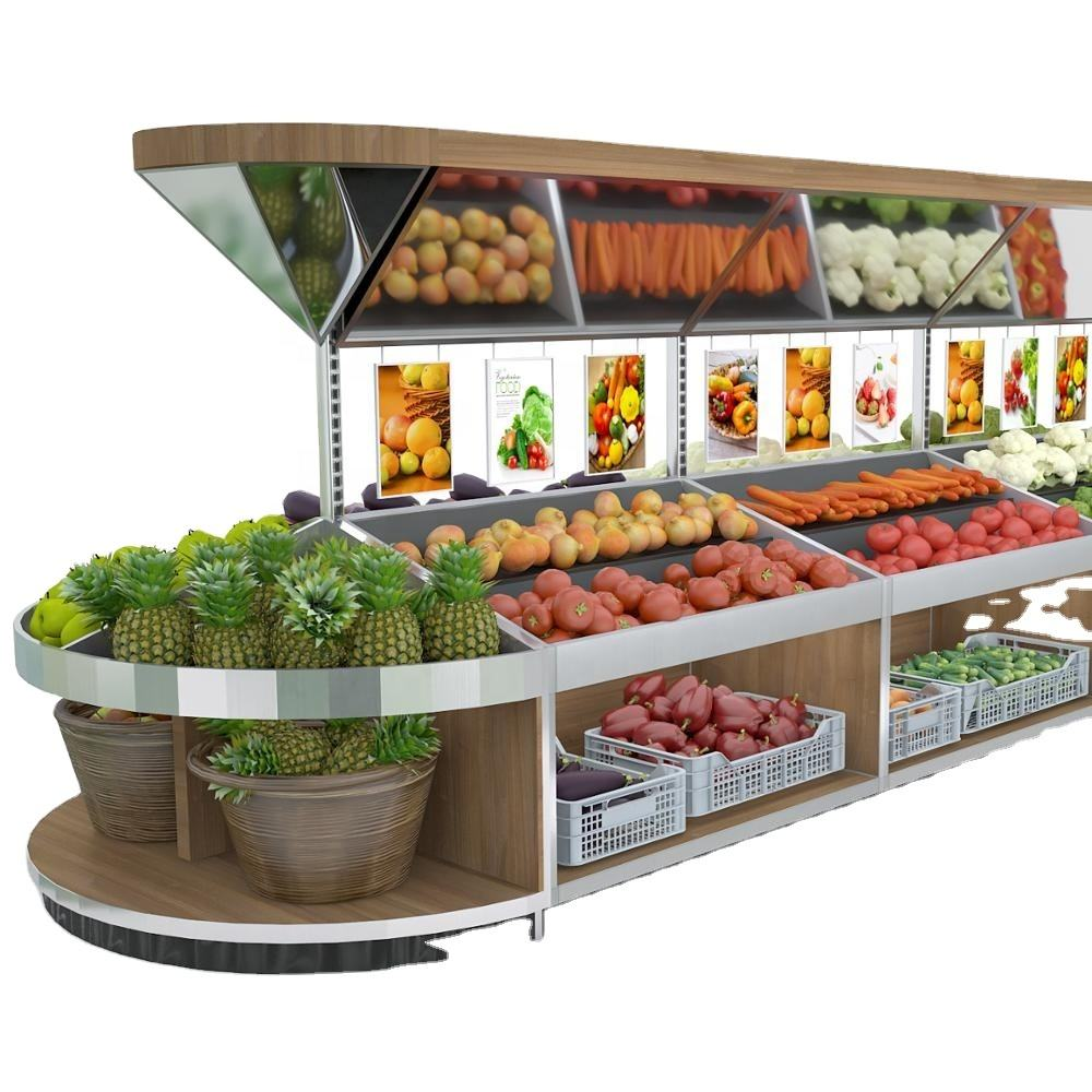 Boutique Supermarkt Planken Groente Rack Fruit Store Display Planken met Drie Lagen
