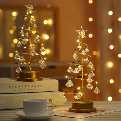 2020 LED Christmas Tree Battery Power Modern Crystal Desk Decor Light Bedroom Living Room Christmas Gift fairy tale Table lamp