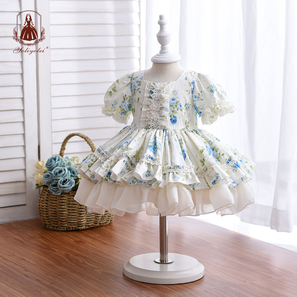 White Beautiful Baby Dress 3 Pcs Ruffle Floral Design Birthday Layered Spanish Girl Dress With Hat + Shorts