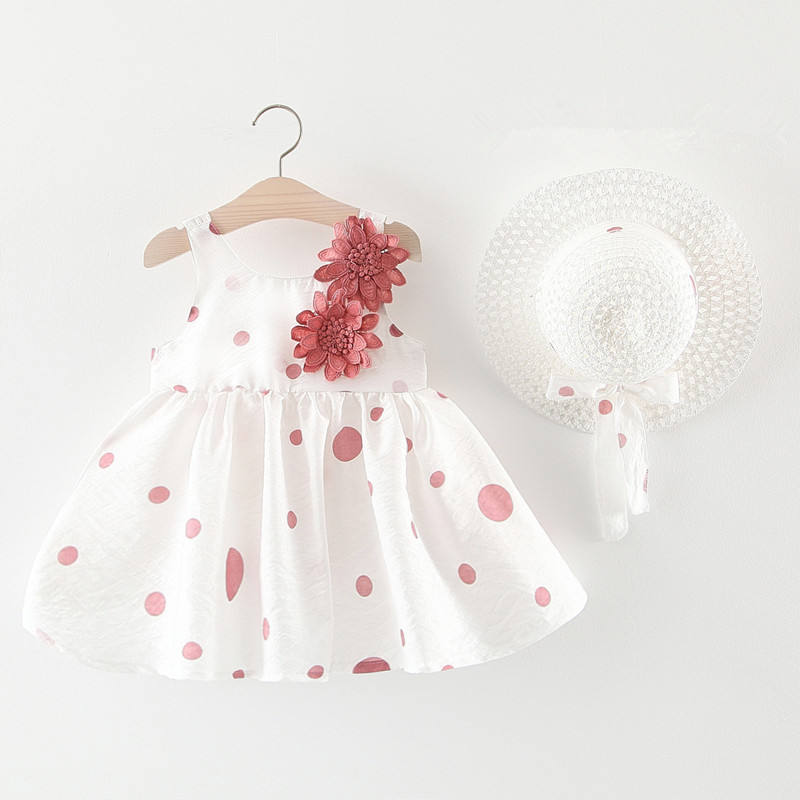 Cheap Price 2020 Korean Summer Baby Girls Dress 2個Drees + Straw Hat Sleeveless Baby Girl Beach Dress