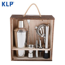 KLP Stainless Steel 9 Pcs Cocktail Shaker Mixer Bartender Kit Bar Tools Set With Wood Box
