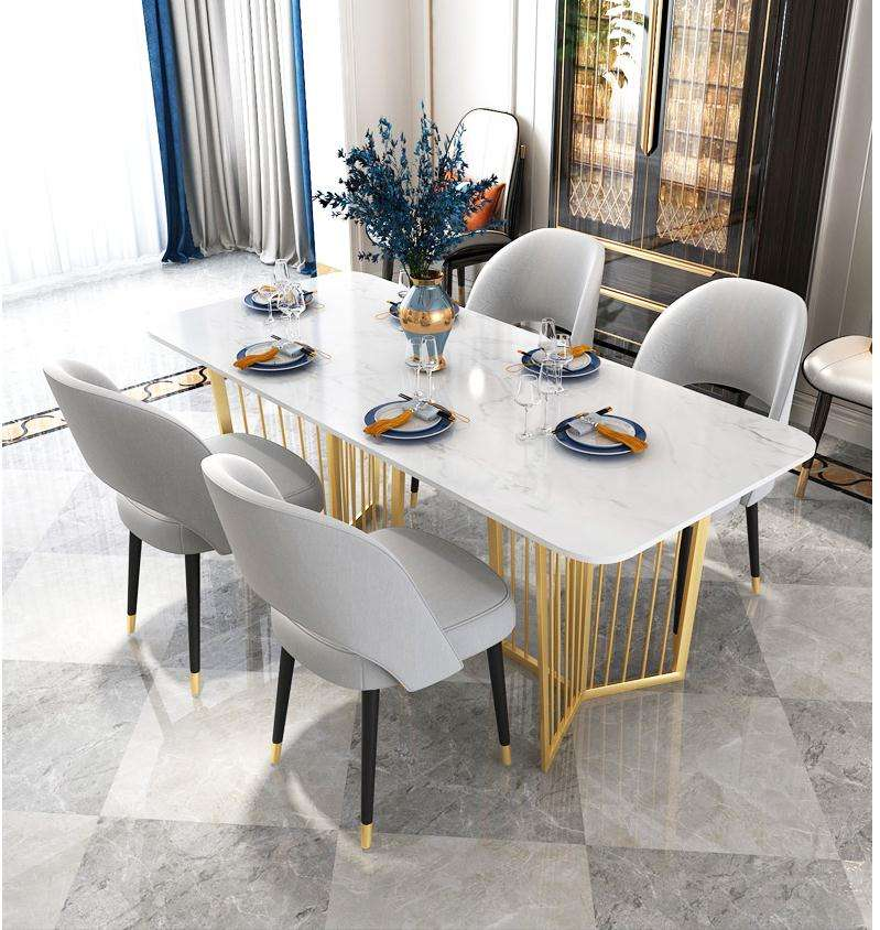 Luxury marble dining table marble top dining table set simple gold legs cafe marble dining table set 6 seater