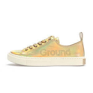 wholesale prices new arrivals gold hip hop women casual leather canvas shoes for ladies