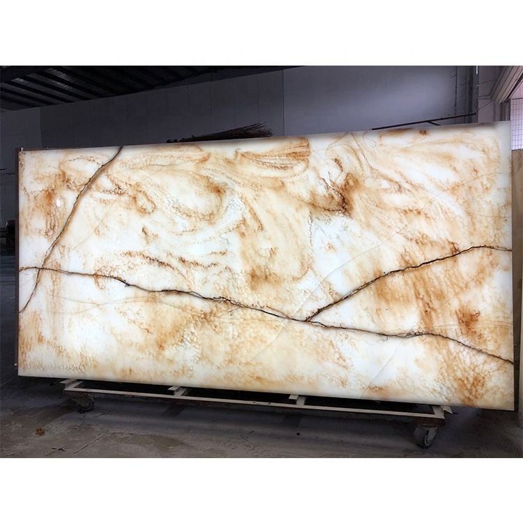 Backlit Artificial Stone Translucent Alabaster Stone Slab Decorative Brick Wall For Interior Decor