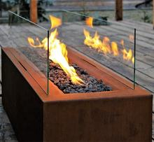 Luxury Garden Set Rusty Corten Gas Fire Table With Glass Protector