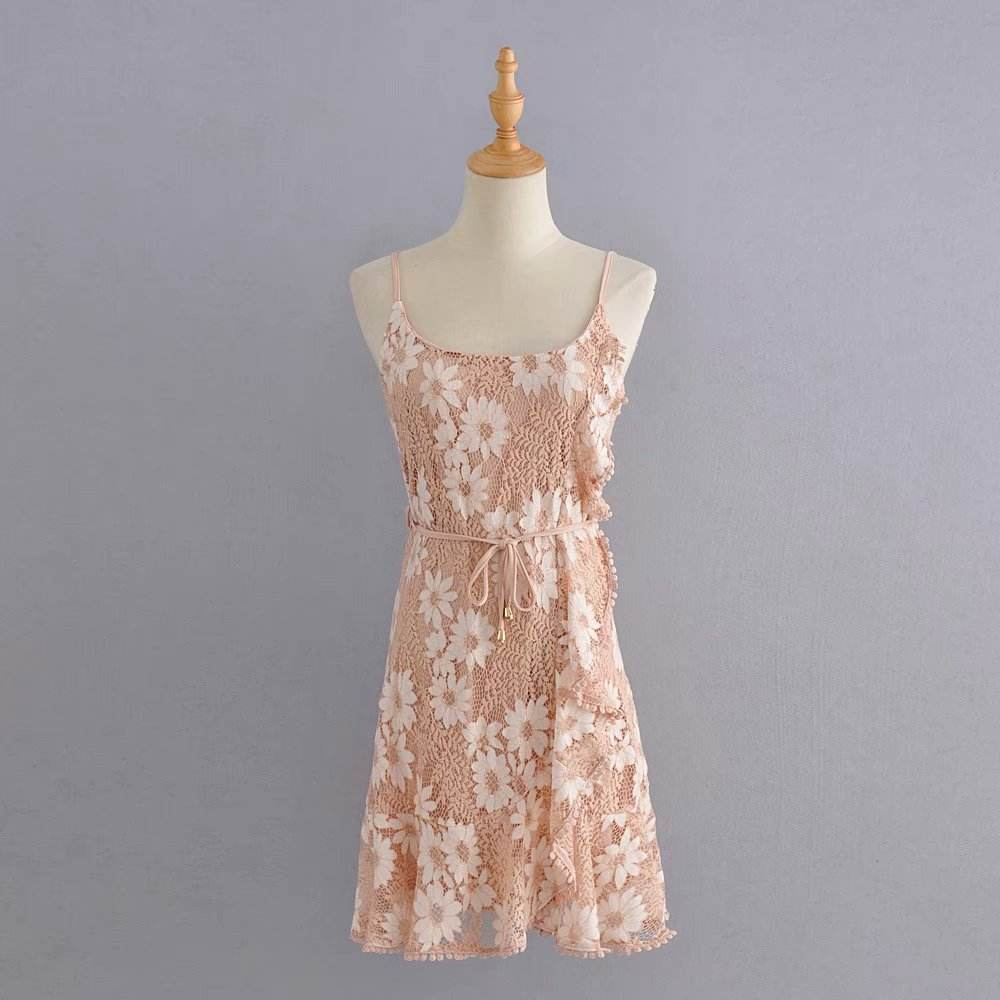 Lace sleeveless one color pink mini clothing ladies elegant dress