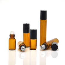 1ml 2ml 3ml 5ml 10ml Amber Thin Glass Roll on Bottle Glass Jars and Bottle Sample Essential Oil Vials with Roller Metal Ball