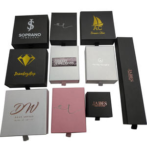 Luxury custom logo paper drawer style earring ring pendant necklace bracelet jewelry set gift packaging box