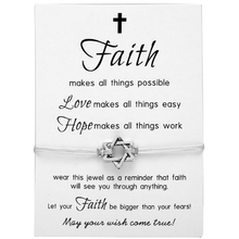 Faith Makes All Things Possible Six Star Faith Bracelet Jewelry Adjustable Wish Card Friendship Rope Bracelet For DIY Design