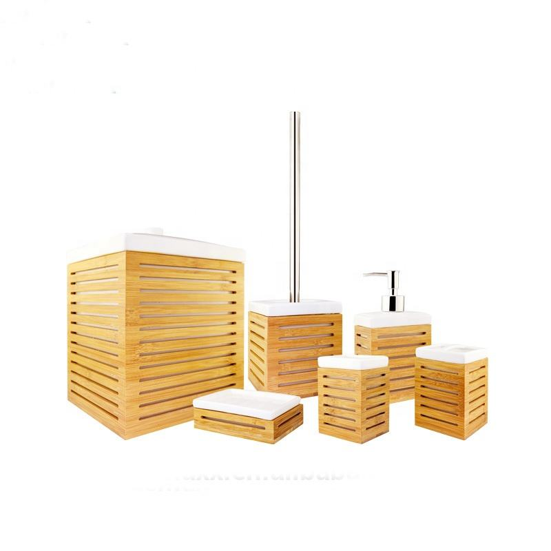 Elegant bamboo toilet accessories bathroom set bath ensembles