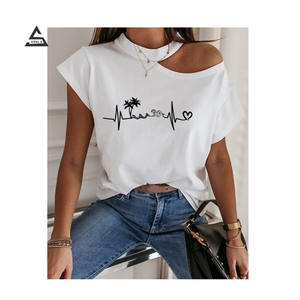 2020 summer fashion women casual love printed top off-shoulder short-sleeved t-shirt plus size women's clothing