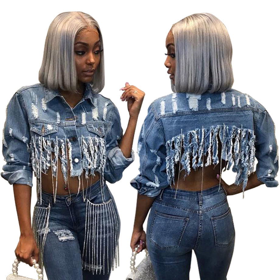 Fashion blue jean spring cropped jacket women