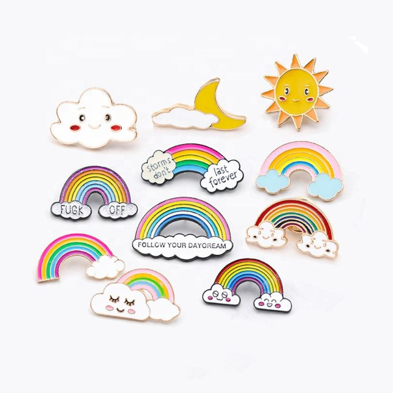 Custom Made Cartoon Rainbow smiley badge Hard Soft Enamel Metal Shirt Pins Badges with Custom Logo