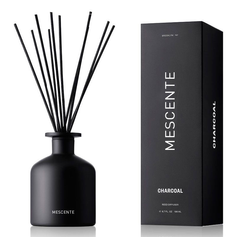 Mescente 30ml Black Ceramic Aroma Reed Diffuser Bottle Rose Glass Bottle Ornamental Reed Diffuser