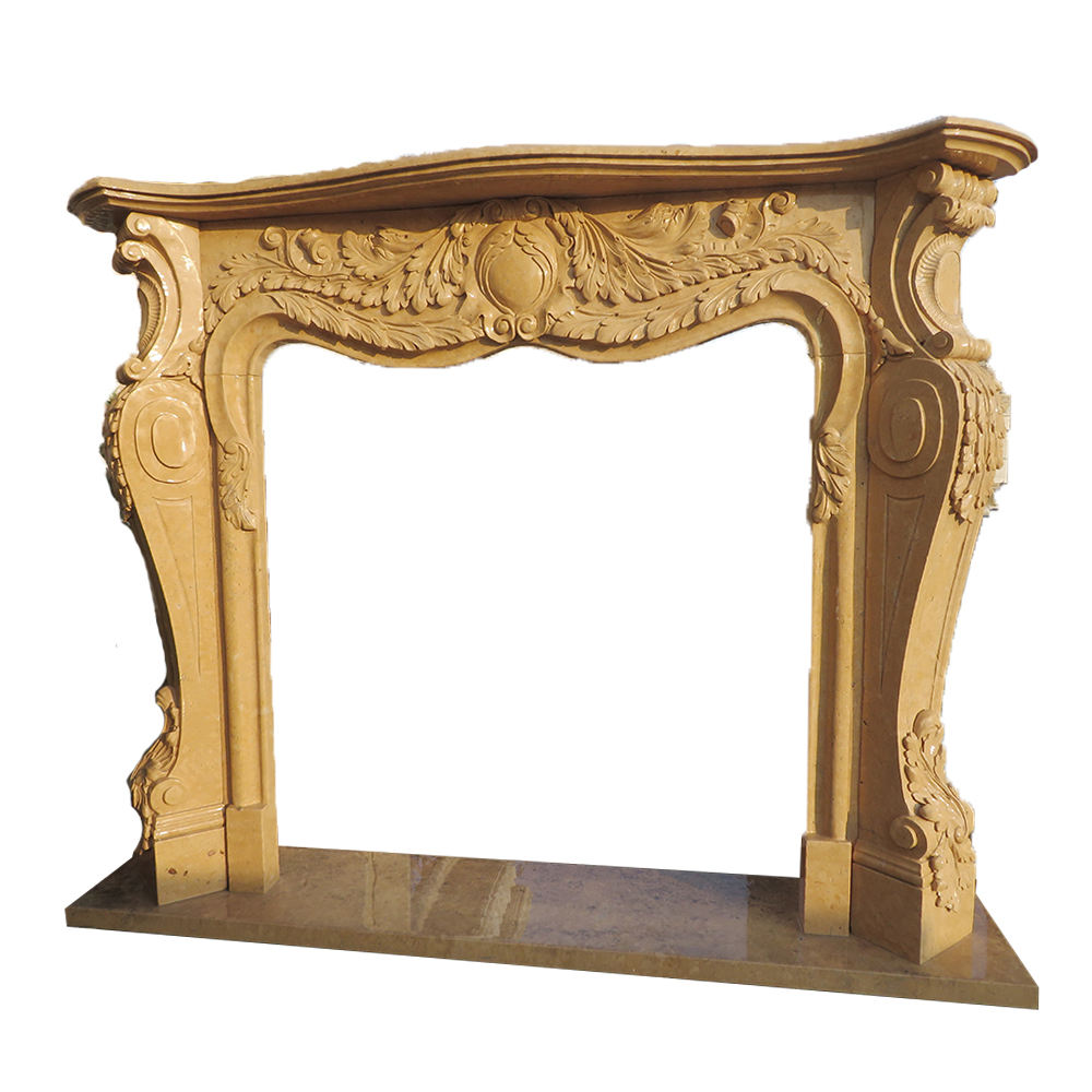 Hand-carved fireplace andiron stone carving polished marble fireplace