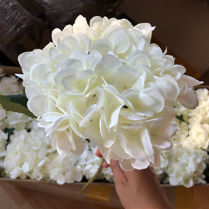 G01-477 Wholesale High Quality White Silk Bulk Hydrangea Artificial Flower Stem Wedding