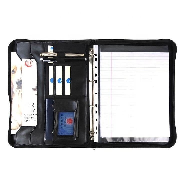 Custom PU leather portfolio conference A4 size office handmade cardboard portfolio with different size holder and notepad