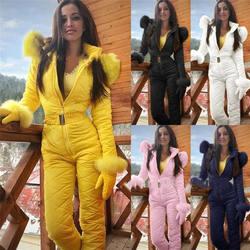 2020 Winter warm woman fashion ski suit jacket hoodie outdoor sports jumpsuit zipper ski suit clothes