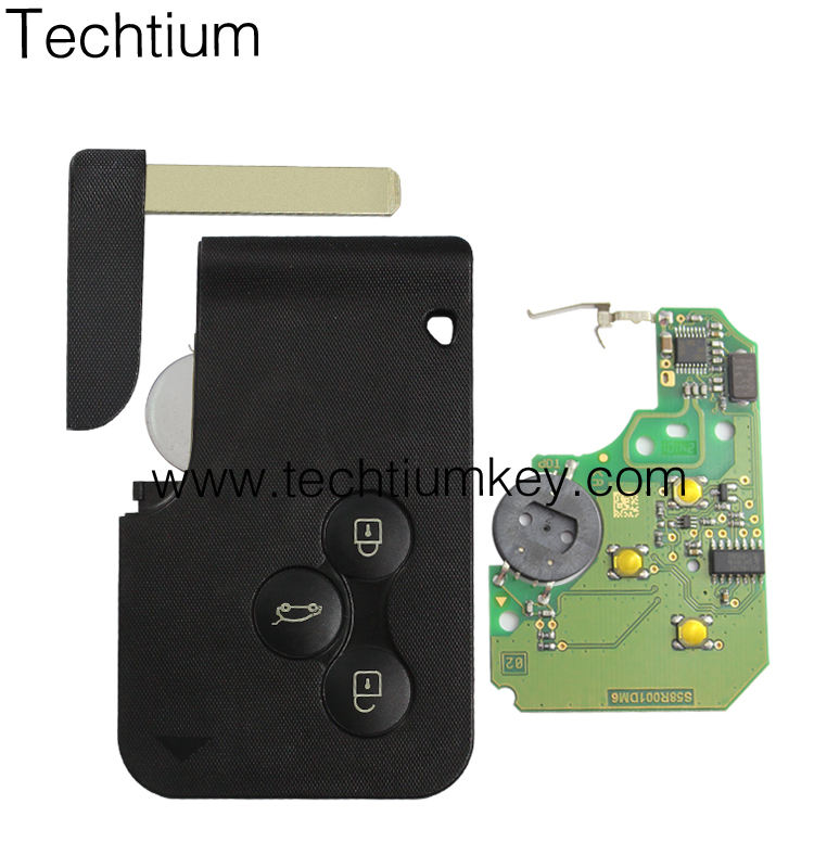 3 button Megane card key cover 433Mhz smart remote for Renault Megane car key card with 7947 chip