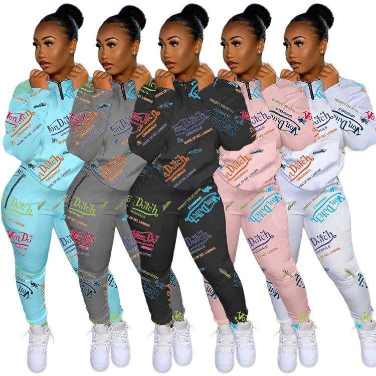 Women Fashion Winter Clothing 2020 Letter Printed Casual Sweat top Two Piece Set Women Clothing Pants Sets For Women
