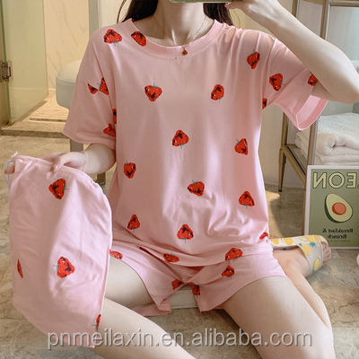 Summer pyjamas women's short-sleeved shorts women's pyjamas three-piece set of milk cotton loose casual can be worn outside