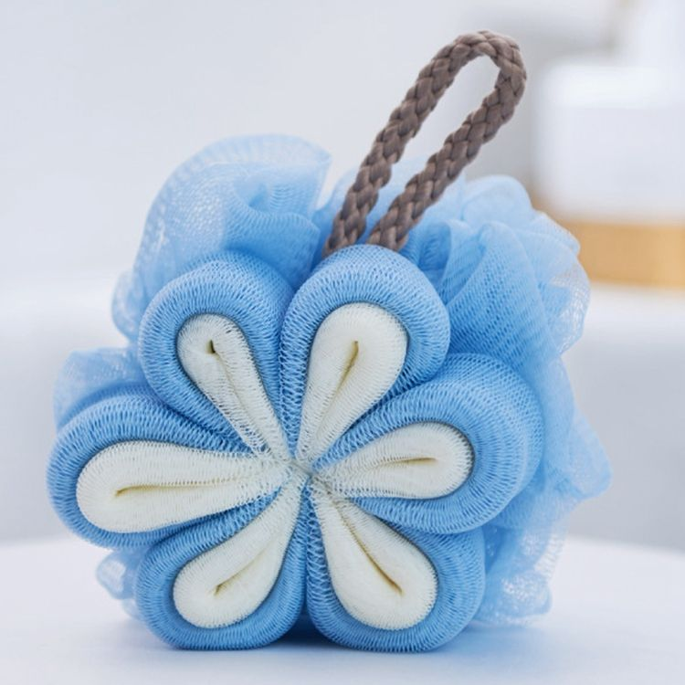 Large Bath Shower Sponge Pouf Flower Loofah Body Exfoliating Shower Ball Mesh Sponge