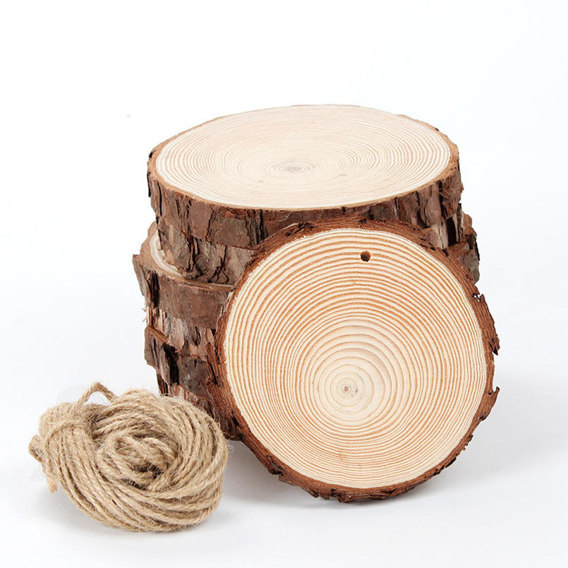 DIY Crafts Different Size Tree Bark Log Discs Unfinished Natural Round Wood Slices Circles
