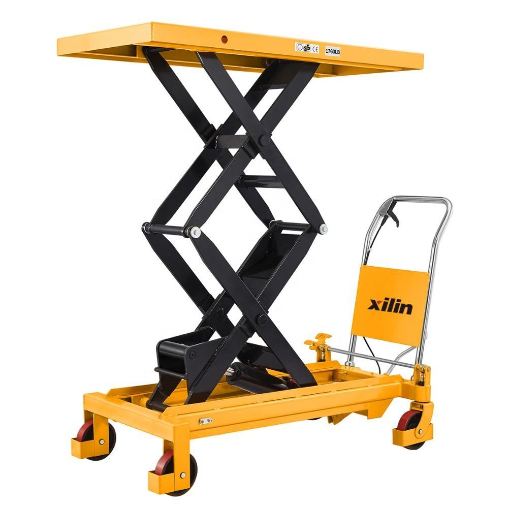 Xilin 800KG 1760lbs manual hydraulic Double Scissors Lift Table