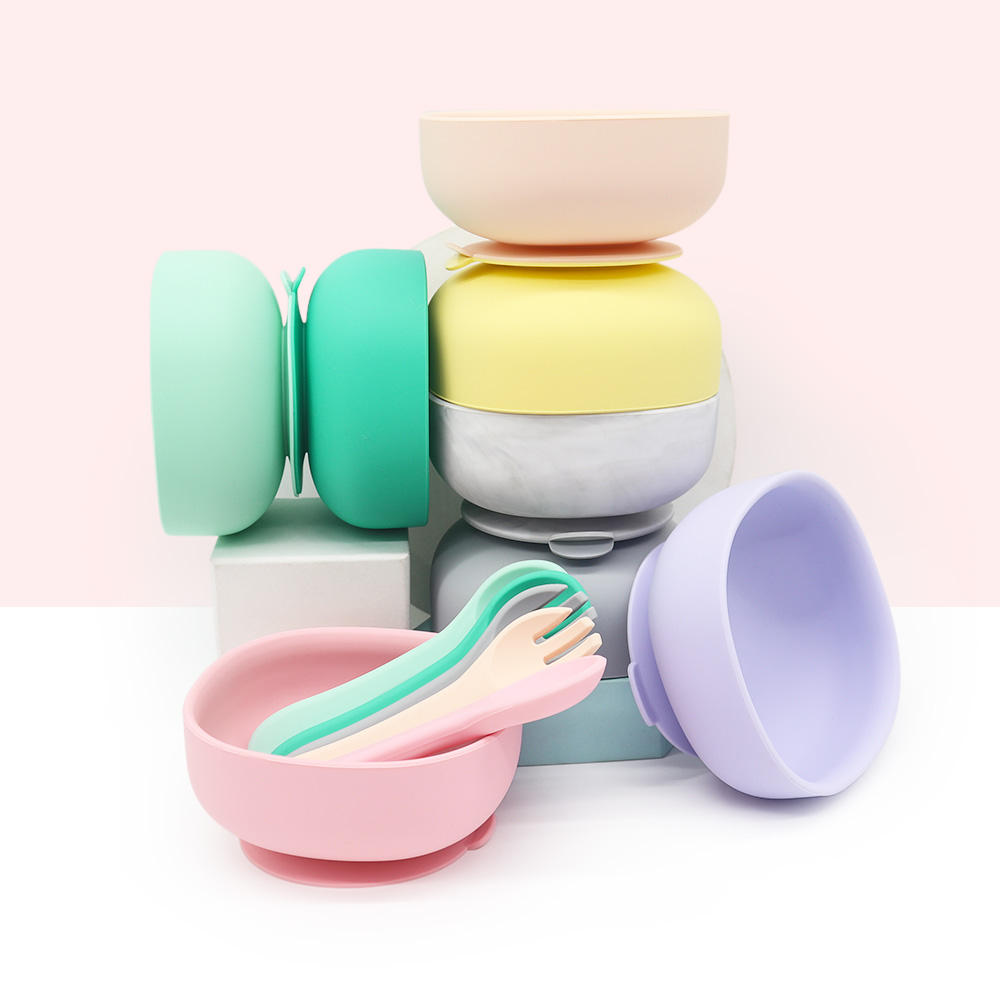 Eco-friendly Heat Resistant Suction Silicone Baby Feeding Bowl with Spoon