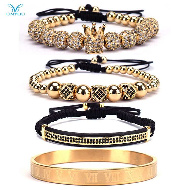 Luxury 4Pcs/Set Men's Gold Crown Bracelet Roman Numerals Engraved Bangle CZ Crown Braided Macrame Bracelet