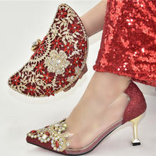 High quality for party matching shoes and bags low heels to match ladies stones slippers bag sets