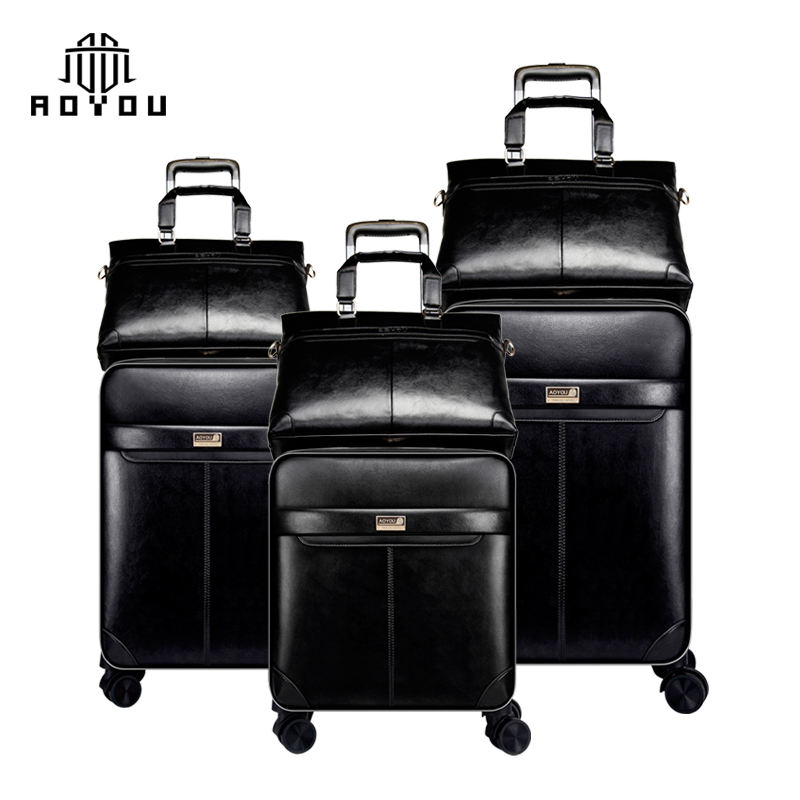 Hot-selling 3pcs 16/20/24 inch businessmen suitcase spinner soft luggage set with TSA lock and handbag