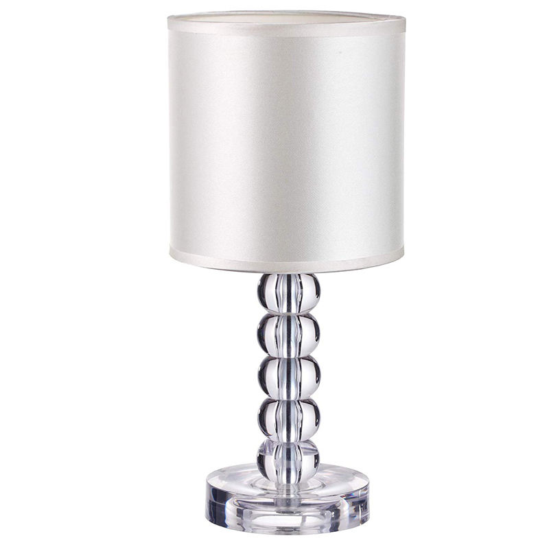 Table Lamp with Acrylic Crystal Body Stacked Ball Design and Textile Lamp Shade Indoor Decorative Table Lamp