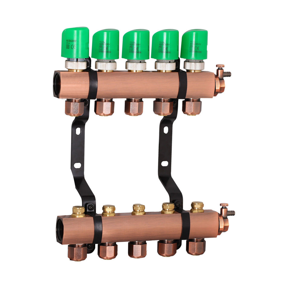 "Professional Manufacturer of 2-10 way 1"" brass manifold for underflorr heating"