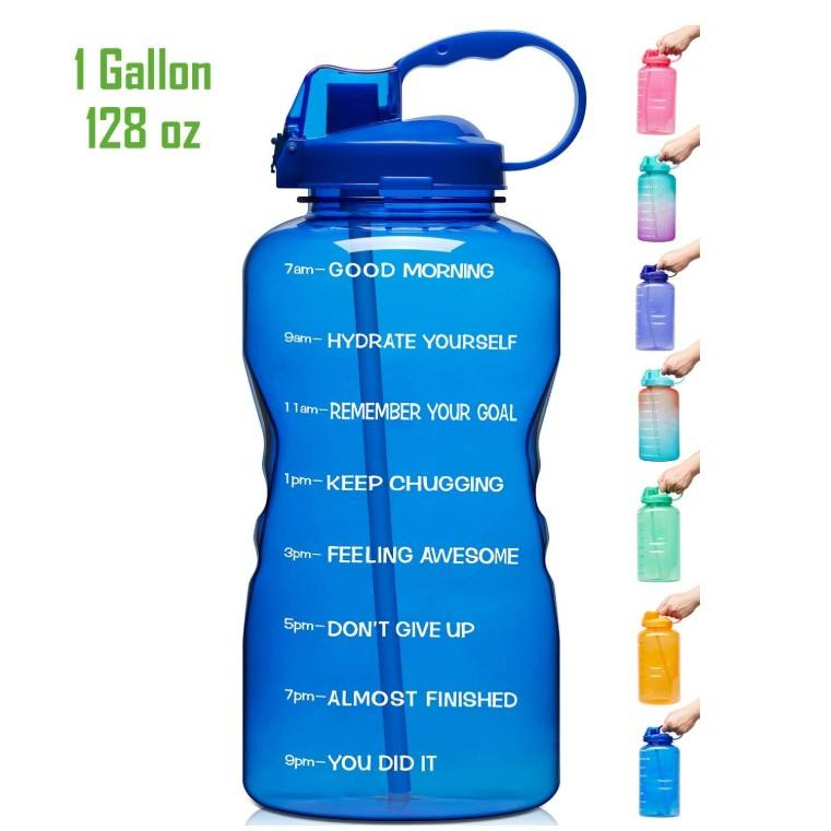 Venture Pal Large 128oz Leakproof BPA Free Fitness Sports Water Bottle with Motivational Time Marker & Straw