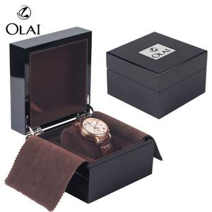 Unique Luxury OEM Factory Black Piano Lacquer Branded Wooden Watch Box,Watch Packaging Box With Custom Logo